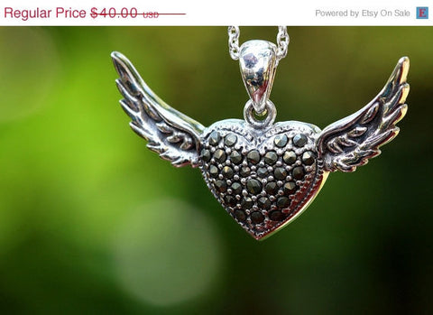 40% Off Marcasite,Heart Angel Necklace,925 Sterling Silver Necklace,Marcasite Pendant,Marcasite Necklace,Angle necklace,Unique Necklace,silv