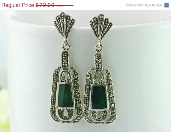 40% Off Antique earrings,agate earrings,agate,macasite earrings,vintage earrings,,vintage,antique,unique,silver,halloween,christmas,statemen