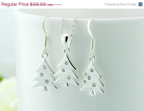 40% Off Christmas,earrings,christmas tree,necklace,silver necklace,cz,jewelry set,xmas jewelry,xmas,cubic zirconia,delicate,chic,thanksgivin