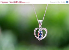 40% Off Heart Blue,Sapphire Necklace,Blue Spinel Necklace,Gemstone Necklace,September Birthstone,Silver Necklace,Gift idea,Woman gift