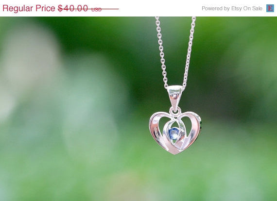 40% Off Heart Blue Sapphire Necklace,Blue Spinel Necklace,Gemstone Necklace,September Birthstone,Silver Necklace,Gift idea,Woman gift