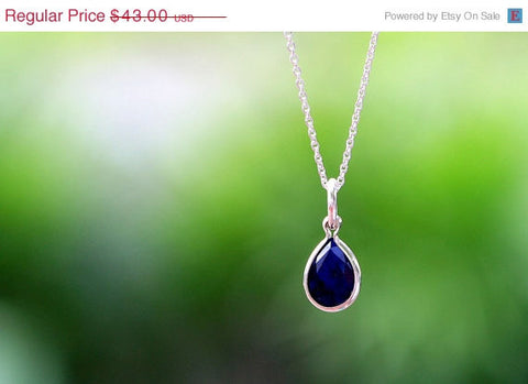 40% Off Teardrop Blue,Sapphire Necklace,Silver Necklace,Gift idea