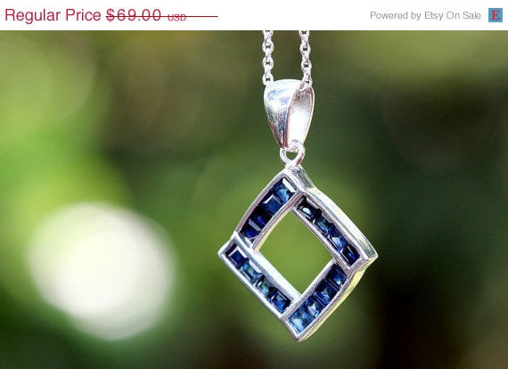 40% Off Blue Sapphire Necklace,Blue Spinel Necklace,Gemstone Necklace,September Birthstone,925 Sterling Silver Necklace