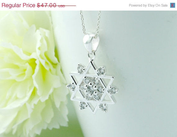 40% Off Celtic,Cubic Zirconia,Silver Necklace,Necklace,Statement,CZ pendant,Silver,pendant,Delicate,dainty,CZ,gemstone,gemstone necklace,hal
