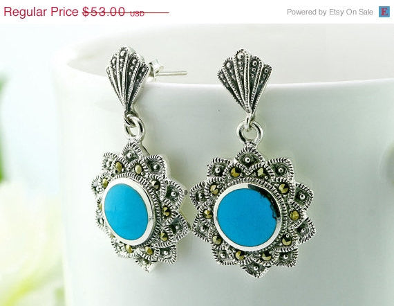 40% Off Blue agate,agate earrings,agate necklace,macasite earrings,vintage earrings,vintage necklace,vintage,antique,unique,silver,halloween