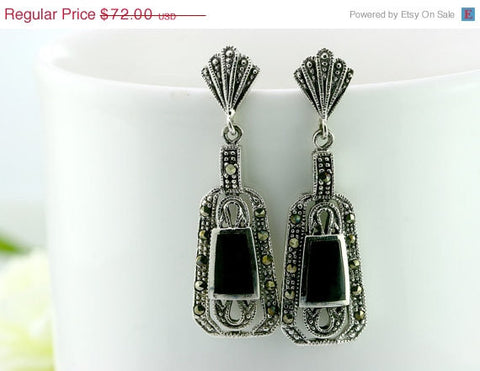 40% Off Black agate,agate earrings,agate,macasite earrings,vintage earrings,,vintage,antique,unique,delicate,silver,halloween,christmas,stat