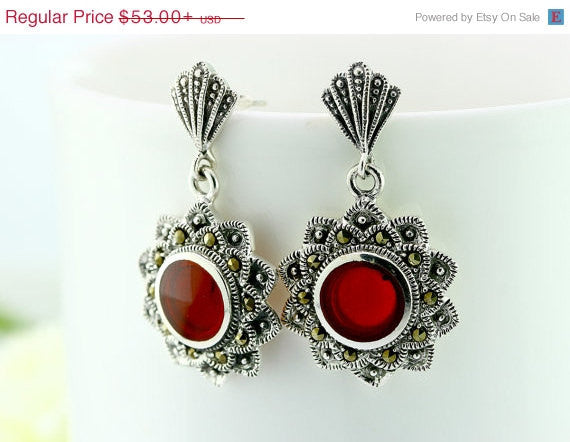 40% Off Red agate,agate earrings,agate necklace,macasite earrings,vintage earrings,vintage necklace,vintage,antique,unique,delicate,silver,h