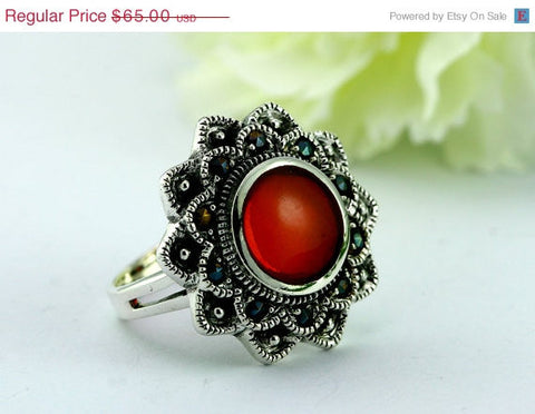 40% Off Vintage,Vintage ring,Red agate Ring,Geode Ring,Statement Ring,Agate Ring,Stone Ring,Gemstone Ring,birthstone ring,Geode,Stacking,Ant