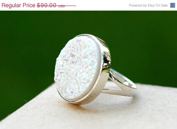 40% Off Geode Ring,Statement Ring,Agate Ring,Sparkle Ring,Druzy Ring,Drusy Ring,Drusy Quartz,Stone Ring,925 Sterling Silver