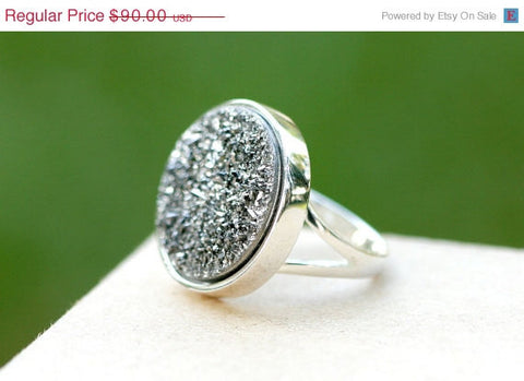 40% Off,Geode Ring,Statement Ring,Agate Ring,Sparkle Ring,Druzy Ring,Drusy Ring,Drusy Quartz,Stone Ring,925 Sterling Silver