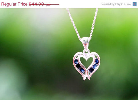 40% Off Hearts Blue,Sapphire Necklace,Blue Spinel Necklace,Gemstone Necklace,September Birthstone,Silver Necklace,Gift idea,Woman gift