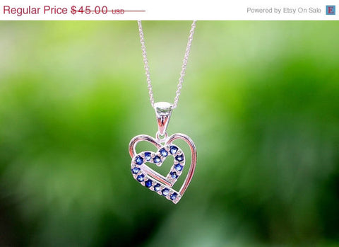40% Off 2 Hearts,Blue,Sapphire Necklace,Blue Spinel Necklace,Gemstone Necklace,September Birthstone,Silver Necklace,Gift idea,Woman gift