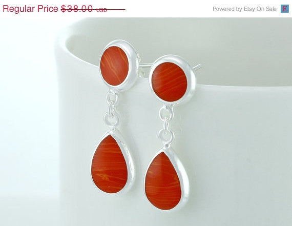 40% Off Coral earrings,silver earrings,teardrop earrings,Delicate earrings,silver,Thanksgiving,christmas,black friday,cyber monday,halloween