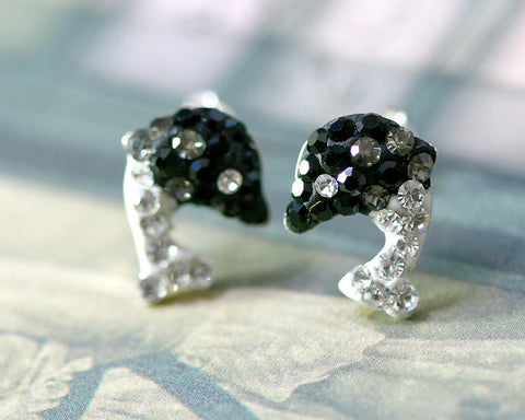 Black,Crystal Earrings,Crystal Stud Earrings,Whale earrings,Lucky earring,Silver earrings,Silver Stud,Swarovski earring,Swarovski Stud