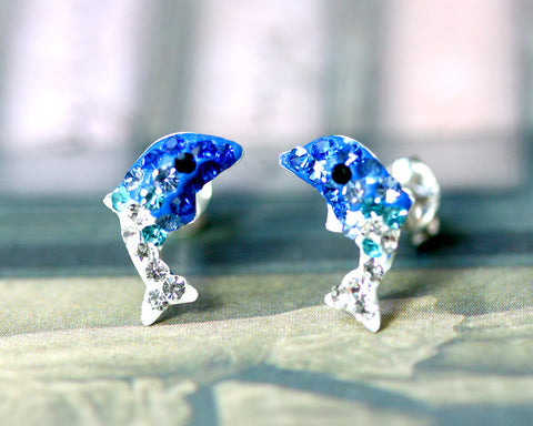 Blue,Crystal Earrings,Crystal Stud Earrings,Whale earrings,Lucky earrings,Silver earrings,Silver Stud,Swarovski earring,Swarovski Stud
