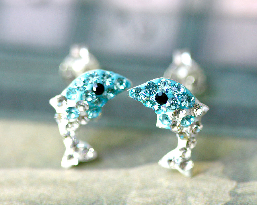 Light blue,Crystal Earrings,Crystal Stud Earrings,Whale earrings,Lucky earrings,Silver earrings,Silver Stud,Swarovski earring,Swarovski Stud