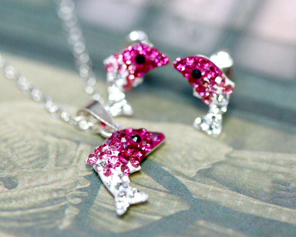 Pink,Crystal Set,Crystal Earrings,Crystal Stud Earrings,Crystal Necklace,Crystal Pendant,Silver earrings,Swarovski earring,Swarovski