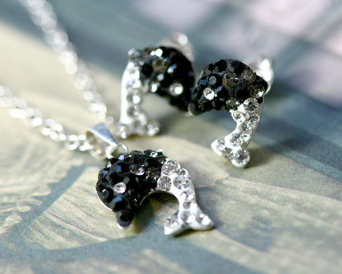 Black,Crystal Set,Crystal Earrings,Crystal Stud Earrings,Crystal Necklace,Crystal Pendant,Silver earrings,Swarovski earring,Swarovski
