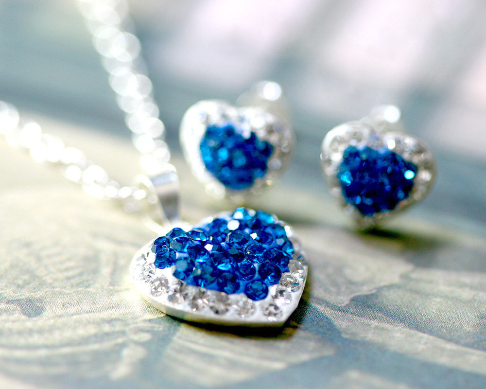 Jewelry Set,Swarovski Earrings,Bridal jewelry,Bridesmaid earrings,Wedding earrings,Wedding jewelry,Heart crystal rhinestone sterling,silver stud,Blue