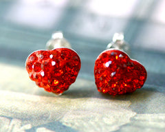 Valentine's gift,Bridal jewelry,Bridesmaid earrings,Wedding earrings,Wedding jewelry,Heart crystal rhinestone sterling,silver stud,Swarovski Earrings,Red