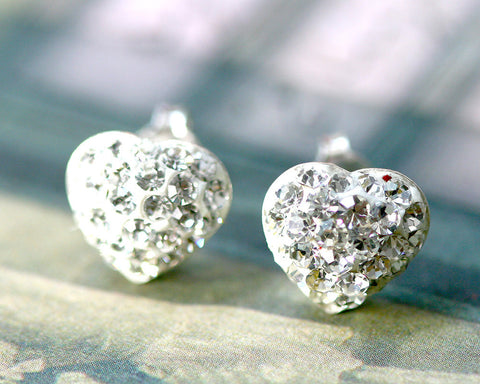 White Earrings,Bridal jewelry,Bridesmaid earrings,Wedding earrings,Wedding jewelry,Heart crystal rhinestone sterling,silver stud,Swarovski Earrings,White