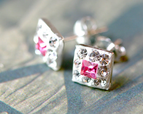 Pink stud earrings,Bridal jewelry,Bridesmaid earrings,Wedding earrings,Wedding jewelry,Square crystal rhinestone sterling,silver stud,Swarovski Earrings,Silver