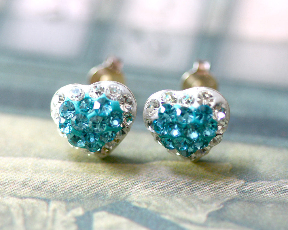 Blue Stud Earrings, Set,Bridal jewelry,Bridesmaid earrings,Wedding earrings,Wedding jewelry,Heart crystal rhinestone sterling silver stud,Swarovski Earrings