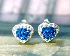 Swarovski Earrings,Bridal jewelry,Bridesmaid earrings,Wedding earrings,Wedding jewelry,Heart crystal rhinestone sterling,silver stud,Blue