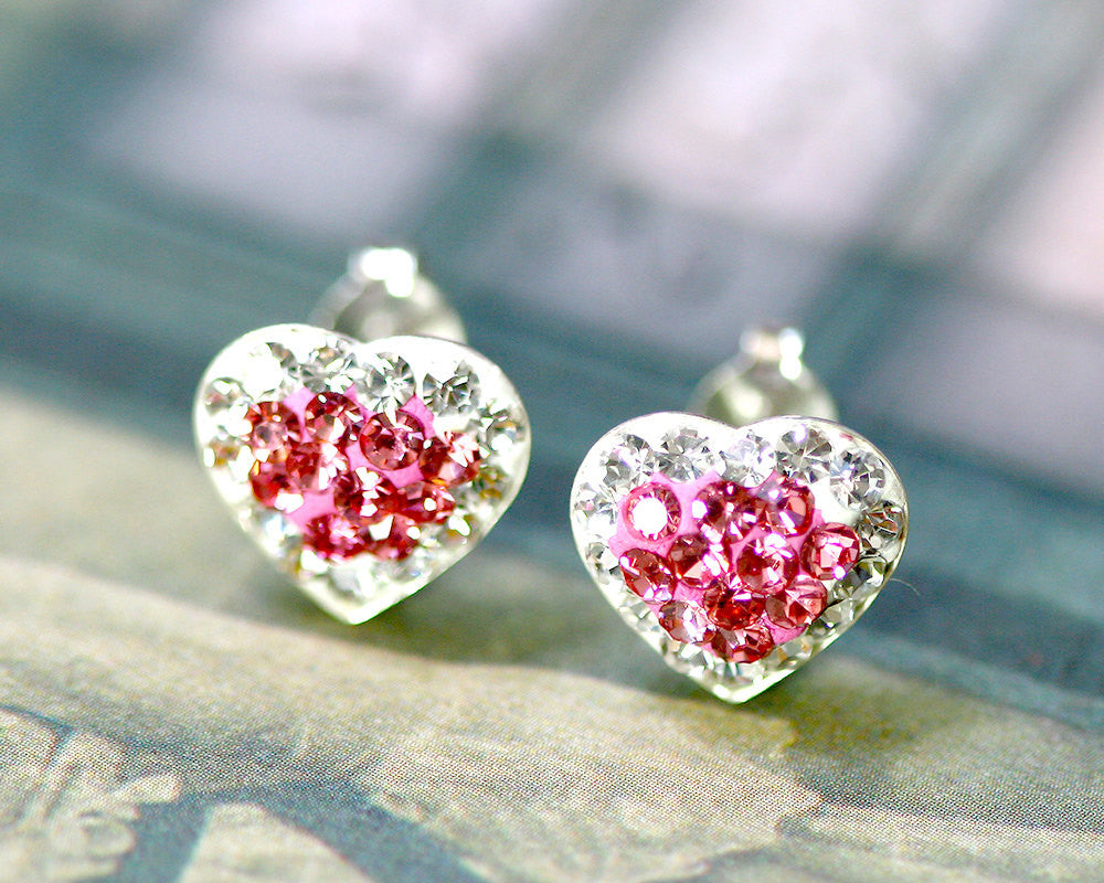 Pink stud earrings,Bridal jewelry,Bridesmaid earrings,Wedding earrings,Wedding jewelry,Heart crystal rhinestone sterling,silver stud,Swarovski Earrings,Pink