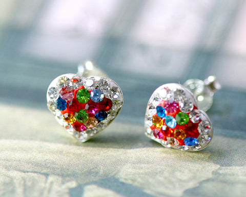 Bridal jewelry,Bridesmaid earrings,Wedding earrings,Wedding jewelry,Heart crystal rhinestone sterling,silver stud,Swarovski Earrings,Multi