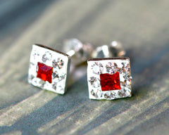 Red earrings,Bridal jewelry,Bridesmaid earrings,Wedding earrings,Wedding jewelry,Square crystal rhinestone sterling,silver stud,Swarovski Earrings,Silver