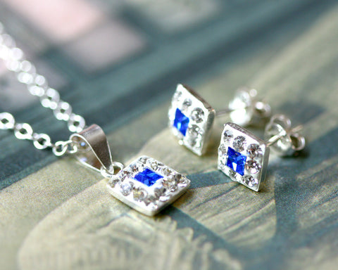 Jewelry set,Bridal jewelry,Bridesmaid earrings,Wedding earrings,Wedding jewelry,Square crystal rhinestone sterling,silver stud,Swarovski Earrings,Blue