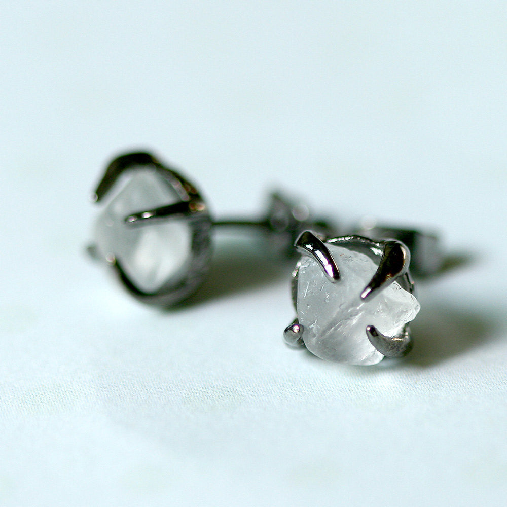 White Topaz Earrings,Raw Stone Earrings,Raw Crystal Earrings,Stone Stud earrings,Stud earrings,Quartz Earrings,Rough Stone