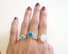 Blue Ring,Unisex Ring,Geode ring,October Birthstone,Opal Ring,gemstone ring,Agate ring,Fathersday,Stone ring,stone,opal,xmas,silver