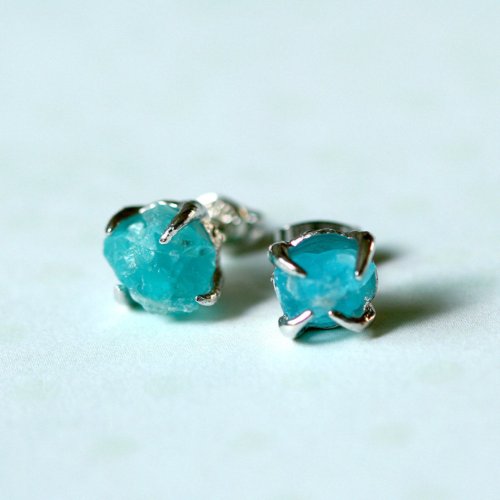 Blue Apatite Earrings,Raw Stone Earrings,Raw Crystal Earring,Stud earring,Stud earrings,Quartz Earrings,Rough Stone,Freeform