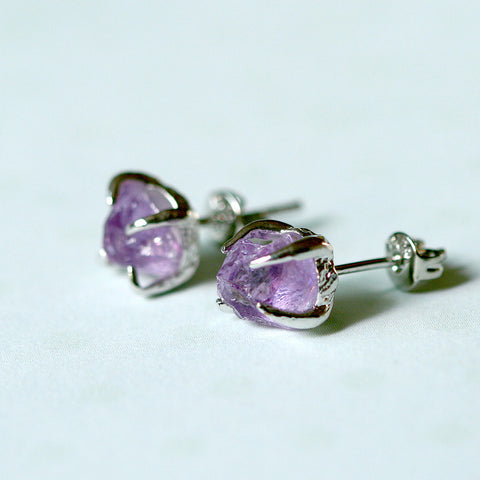 Amethyst Earrings,Raw Stone Earrings,Raw Crystal Earring,Stud earring,Stud earrings,Quartz Earrings,Rough Stone,Freeform