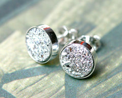 Silver jewerly set,Bridal jewelry,Bridesmaid earrings,Wedding earrings,Druzy Earrings,Druzy stud,Swarovski Earrings,Silver