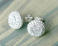 Silver Jewelry Set,Bridal jewelry,Bridesmaid earrings,Wedding earrings,Druzy Earrings,Druzy stud,Swarovski Earrings,Silver