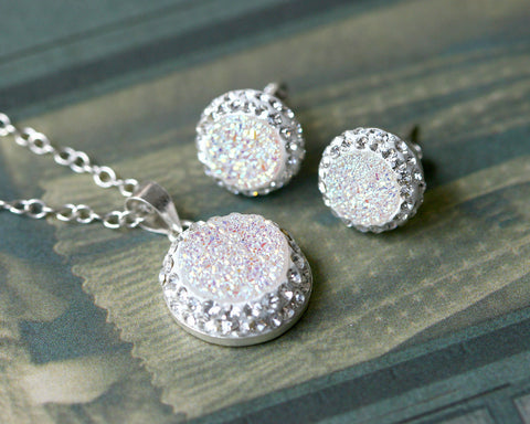 White Jewelry set,Bridal jewelry,Bridesmaid earrings,Wedding earrings,Druzy Earrings,Druzy stud,Swarovski Earrings,Silver Stud