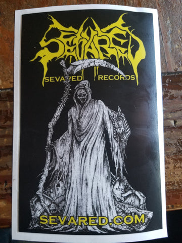 SEVARED RECORDS- Grim Death Huge VINYL STICKER