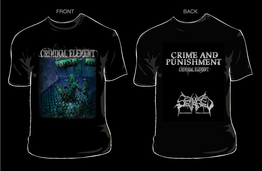 CRIMINAL ELEMENT- Crime & Punishment T-SHIRT LARGE