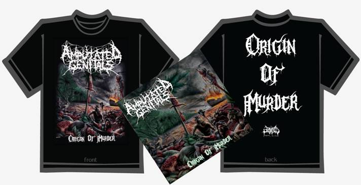 AMPUTATED GENITALS- Origin Of Murder CD / T-SHIRT PACKAGE S-XL OUT NOW!!!