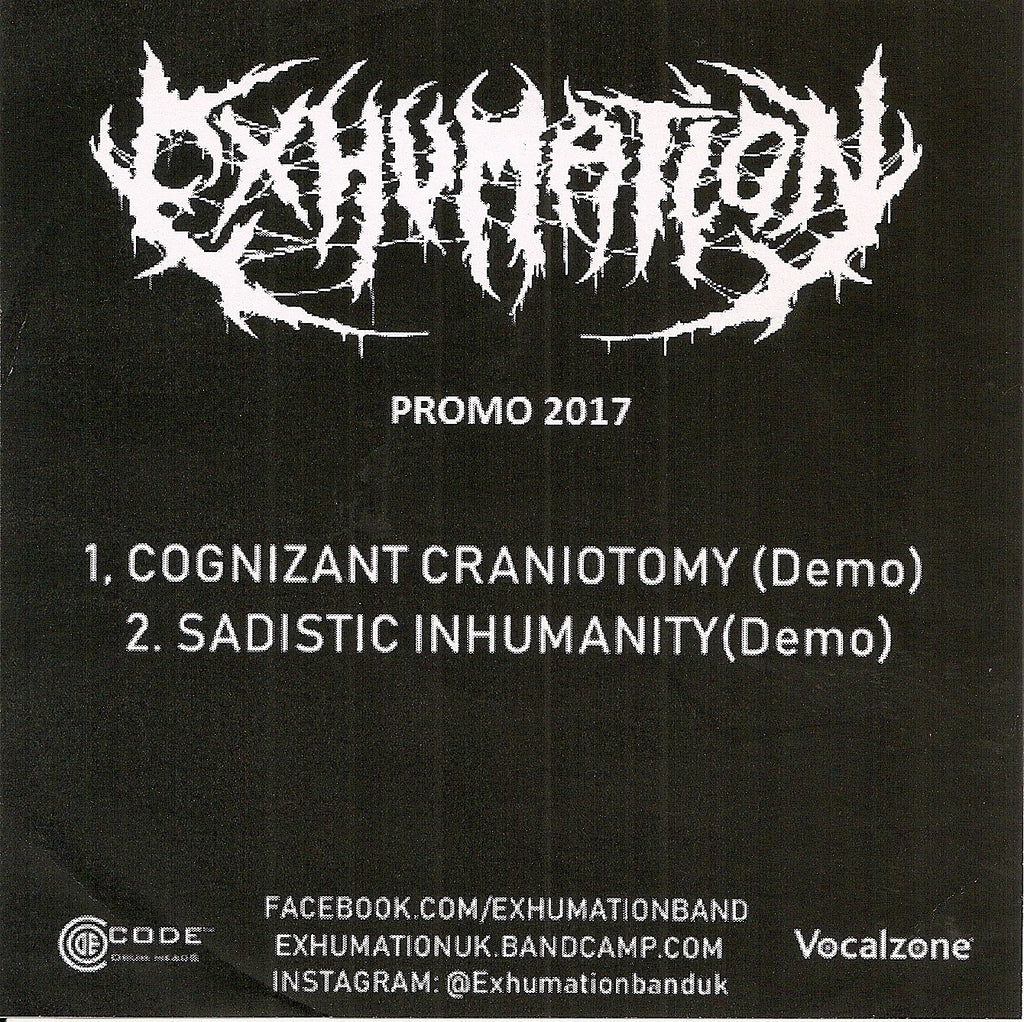 Exhumation- Promo 2017 CD FREE W/ ORDERS OF $30 OR MORE