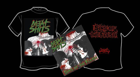 MEAT SHITS- Sins Of The Flesh CD / T-SHIRT PACKAGE M-XXL