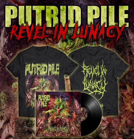 PUTRID PILE- Revel In Lunacy T-SHIRT (EURO VERSION) LARGE Sevared Rec. / P.E.R.