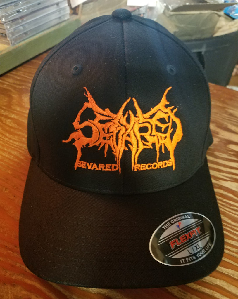SEVARED RECORDS- Flex Fit Logo Hat NEON ORANGE L/XL