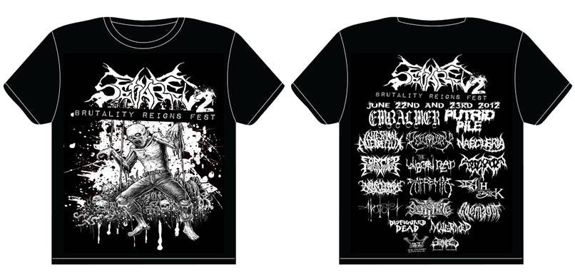 SEVARED RECORDS- Brutality Reigns Fest 2012 T-SHIRT MEDIUM