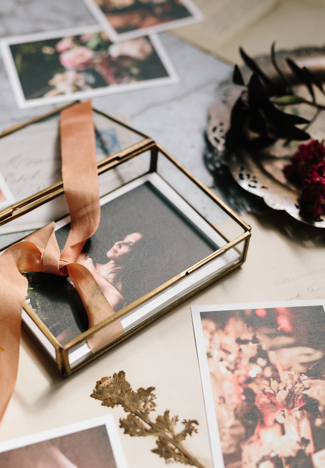 glass box photo presentation with ribbon