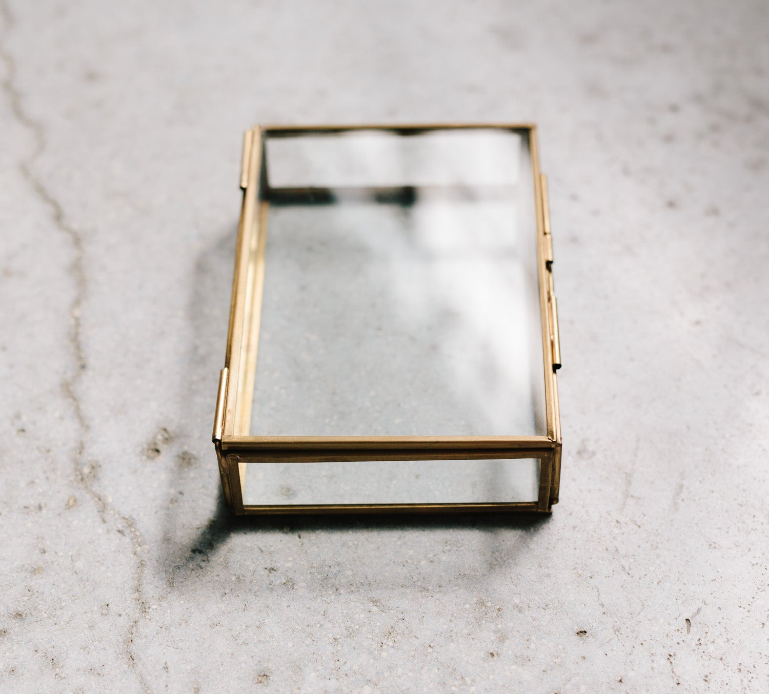 glass and brass photo display box