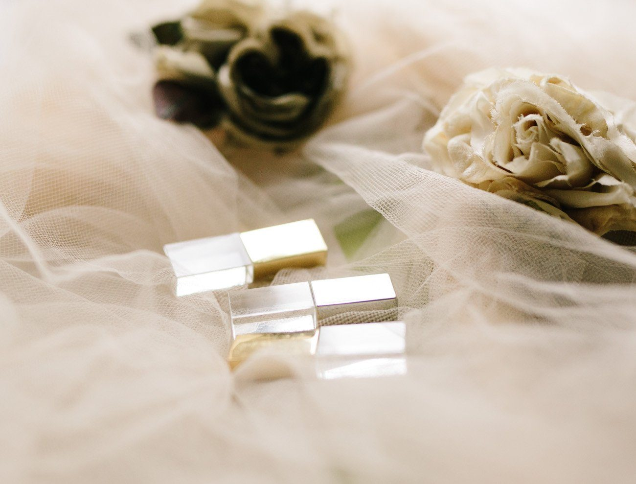 silver and gold metal and crystal usb drives